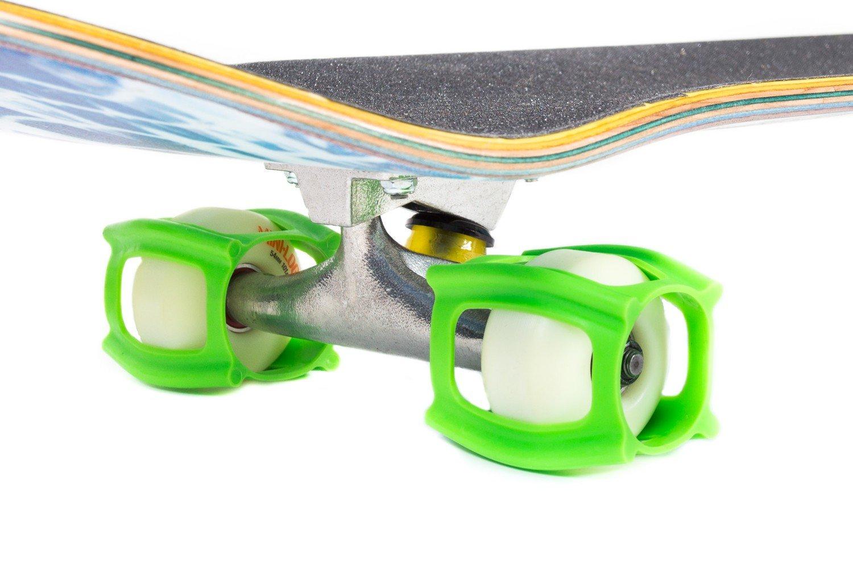 skatertrainer 2.0, die Gummi Skaten Zubehör für Perfektionierung Ihrer Ollie und Kickflip–Lernen, Praxis und Land Tricks in keine Zeit. das ideale Zubehör neonblau