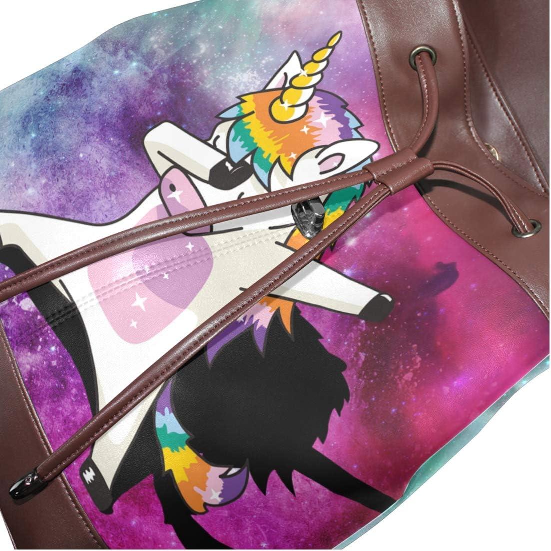 Womens Leather Backpack Cool Unicorn Shoulder Purse Travel School Lady Bag