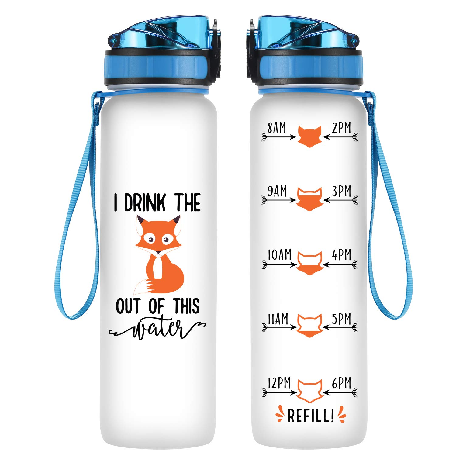 Coolife 32oz 1 Liter Motivational Tracking Water Bottle with Hourly Time  Marker - I Drink The Fox Out of This Water - Drink More Water - Funny