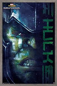 """Trends International Marvel Cinematic Universe - Thor - Ragnarök - Hulk Wall Poster, 14.725"""" x 22.375"""", Barnwood Framed Version"""