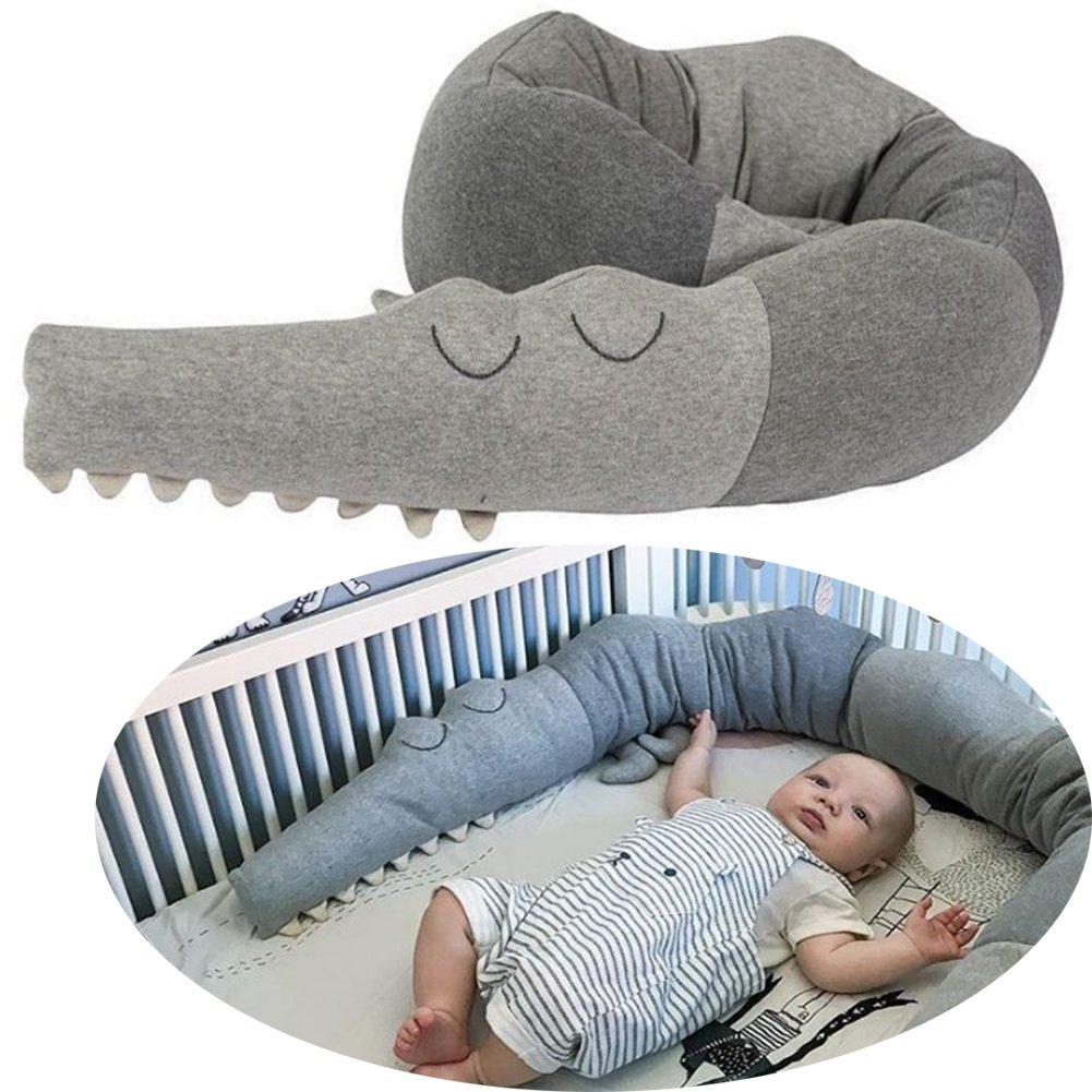 Crib Bumper,V-mix Crocodile Shape Bed Rail Guard for Toddlers Cradle Bumper Nursery Decor Crib Bedding Newborn Gift Decorative Pillow Toys Cot Bumper 72.8inch(185cm)