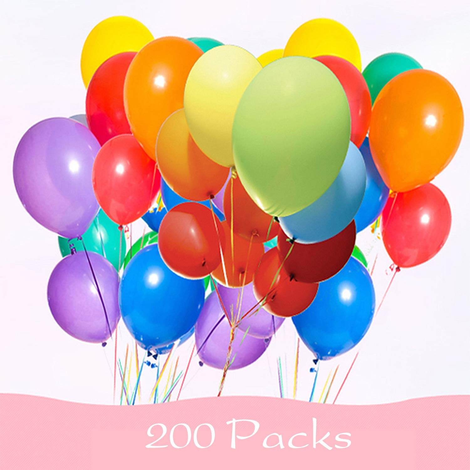 200 Pieces Assorted Colored Balloons Bulk , 11 Inches Latex Helium Balloons for Birthday Party Decorations Wedding Decorations Arch Supplies WooWan