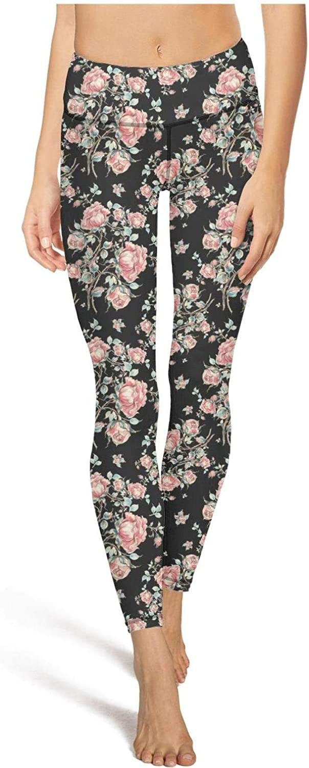 High Waisted Yoga Pants for Women Vintage Floral Pattern Printed Fitness Yoga Leggings with Pocket