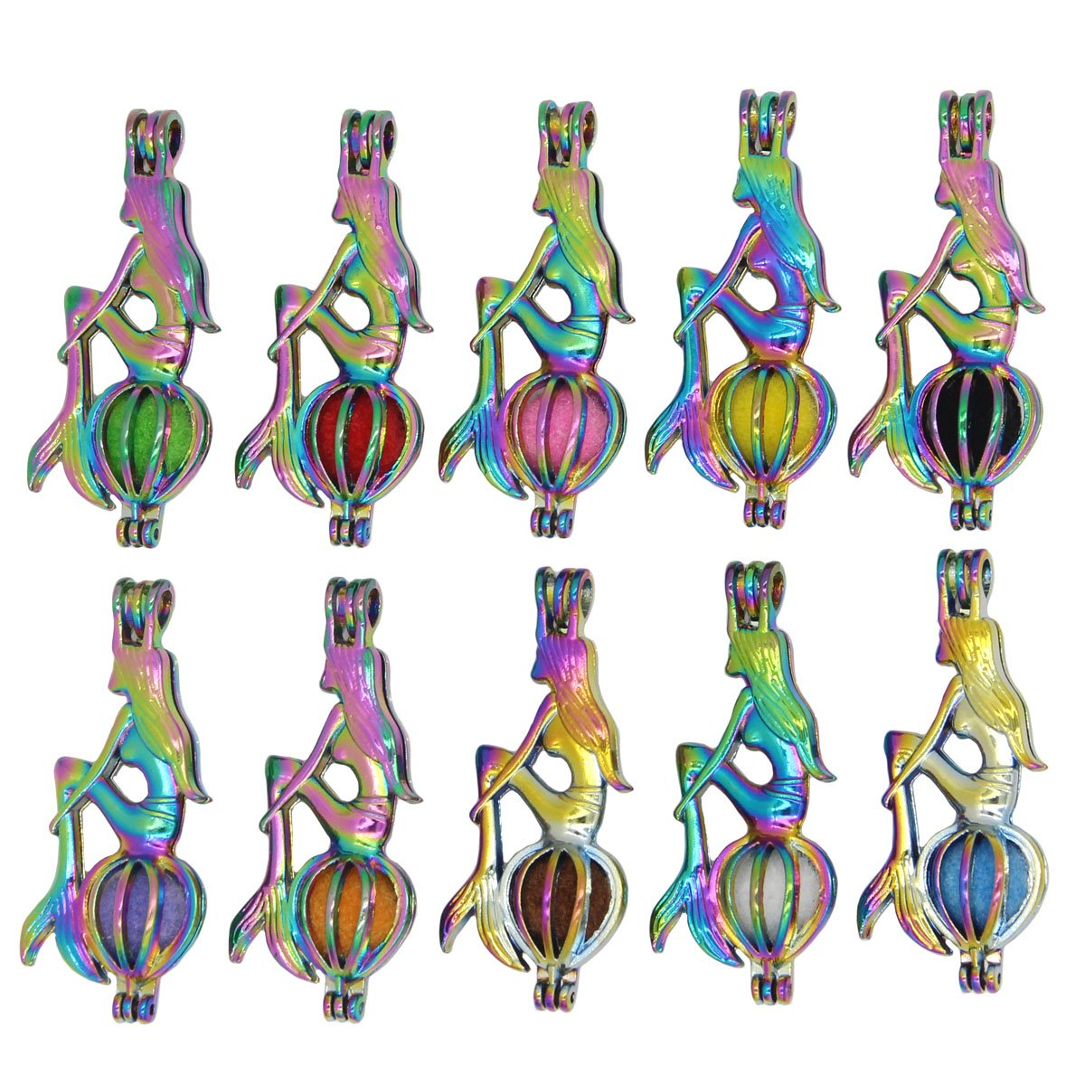 Bruin 10pcs Rainbow Mermaid Pearls Cages Locket Pendant Essential Oils Diffuser Necklace Charms HX0598-4