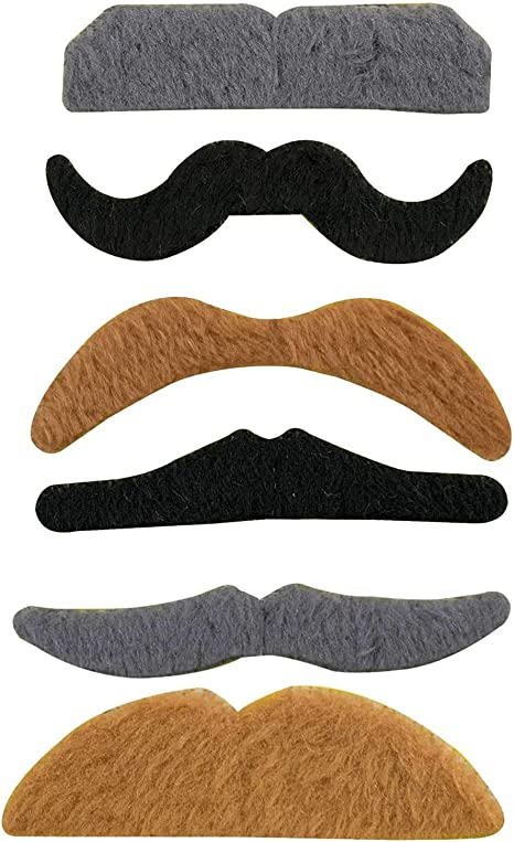 Party Variety Moustache Mustache Facial Hair Moustaches Stick On Set of 12 NEW