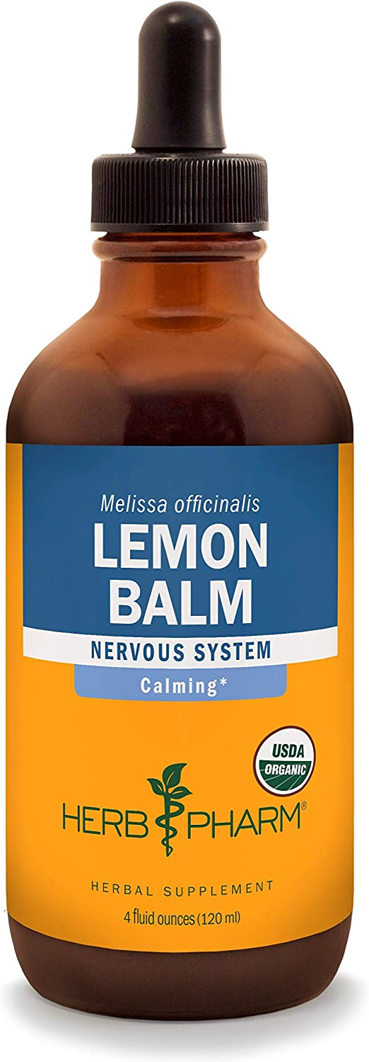 Herb Pharm Certified Organic Lemon Balm Liquid Extract for Calming Nervous System Support, Organic Cane Alcohol, 4 Ounce