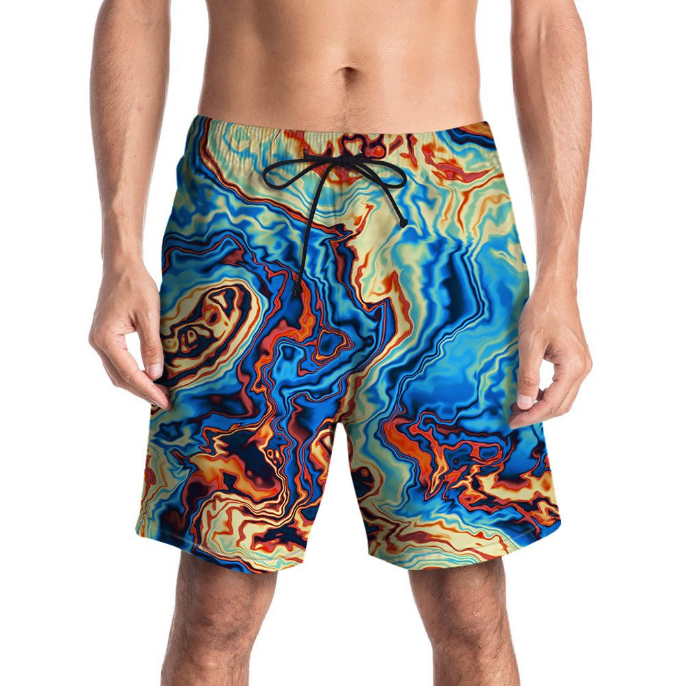 GREFER Men Personality 3D Graffiti Printed Beach Work Casual Short Trouser Shorts Pants (XL, Multi Color) by GREFER