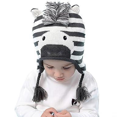 20479946f73 SEEYAN Kid Baby Winter Warm Cute Zebra Knit Hat Boy Girls Fleece Lining  Earflaps Beanie Cap