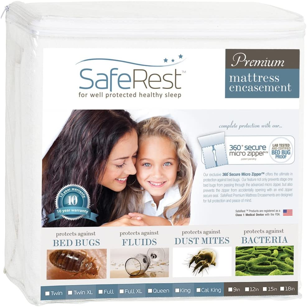 SafeRest Premium Zippered Mattress Encasement - Lab Tested Bed Bug Proof, Dust Mite and Waterproof - Hypoallergenic, Breathable, Noiseless and Vinyl Free (Fits 12-15 in. H) - Queen Size