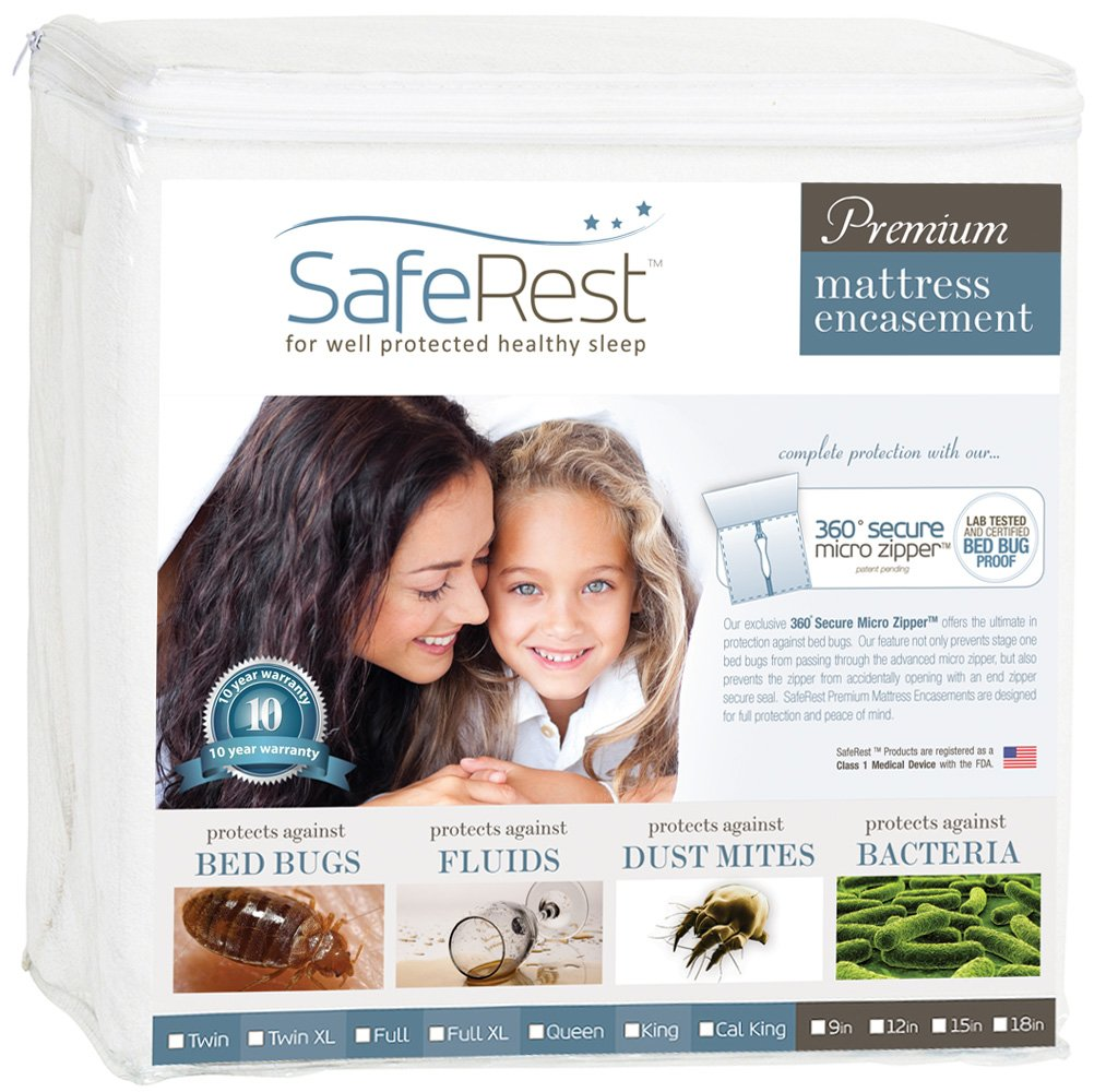 SafeRest Premium Zippered Mattress Encasement - Lab Tested - 100% Bed Bug, Dust Mite and Waterproof - Exclusive Zipper Flap Protection - Vinyl Free and Noiseless (Fits 12-15 in. H) - Twin