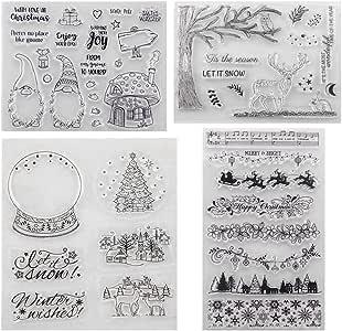 Sellos Navidad, Transparente Sello de Silicona, Sello de Goma para Tarjetas de Navidad, DIY Álbum, Scrapbooking,Perfecto Regalo de Navidad Niños: Amazon.es: Hogar