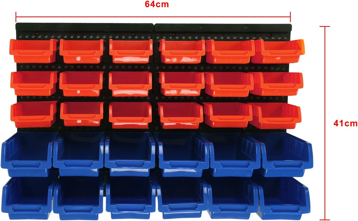 Allright 30/pcs Plastique kit de bacs de rangement avec bo/îtes empilables /à fixation murale Garage Organiseur Etag/ère