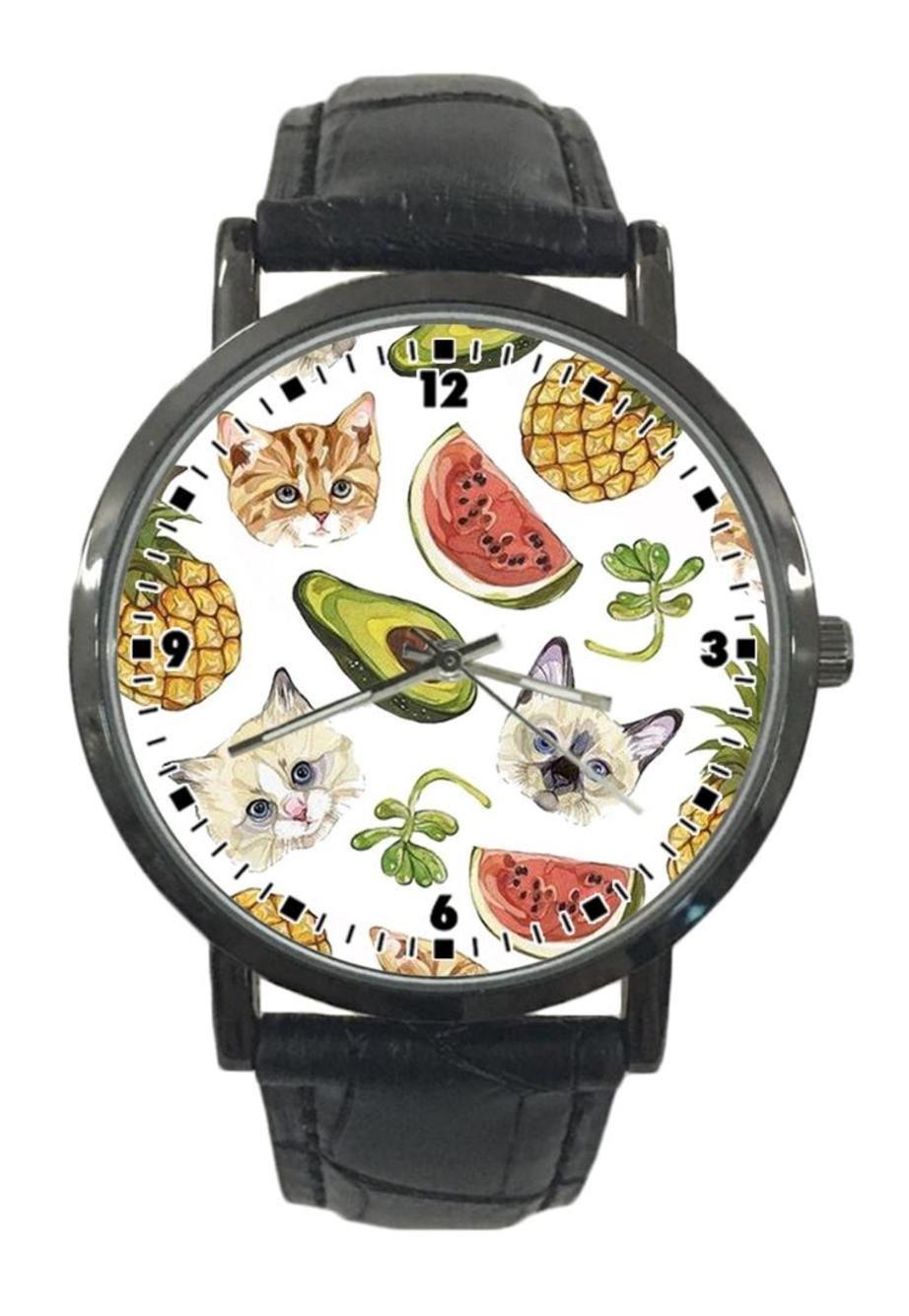jkfgweeryhrt New Simple Fashion Cat Pineapple Watermelon Stainless Steel Leather Analog Quartz Sport Wrist Watch