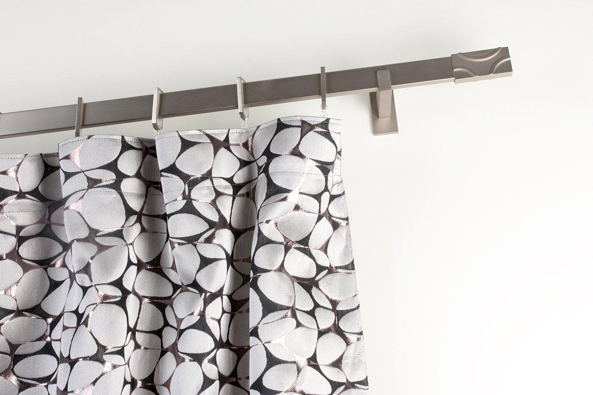 Bastone per tende 31x12 mm rettangolare, 140cm con supporto lungo in acciaio satinato – completo Archema Q128/D/140