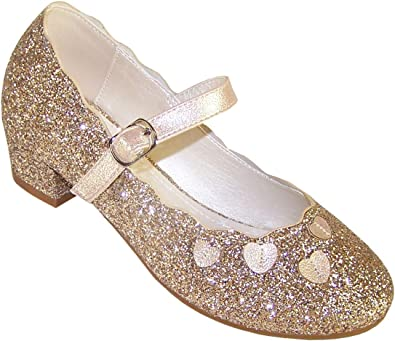 Girls Low Heeled Gold Sparkly Party and
