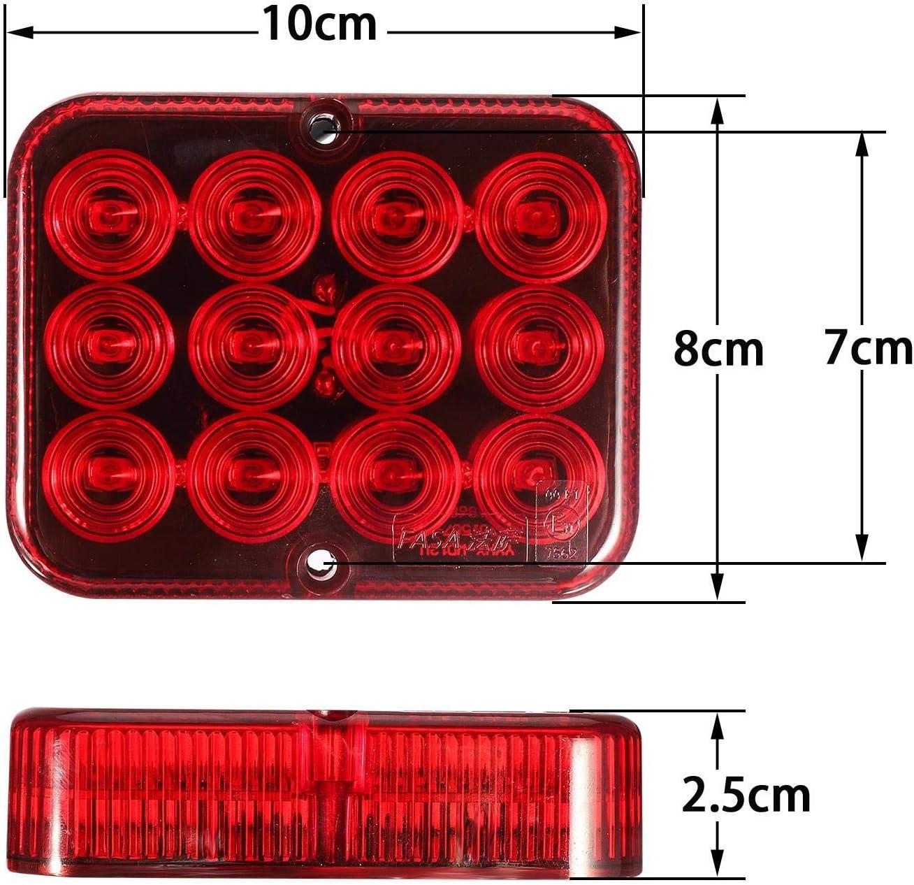 PARTSAM 2pcs feu antibrouillard LED rouge feu antibrouillard arri/ère 12V pour remorque camion caravane ect.