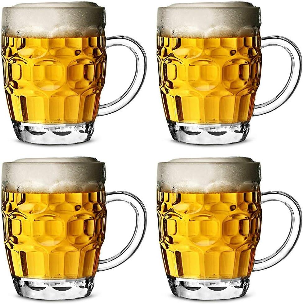 Jarra de cerveza de policarbonato plástico con hoyuelos 568ml - set de 4 unidades / cerveza de barril, pinta de cerveza, jarra de pinta, jarra de plástico