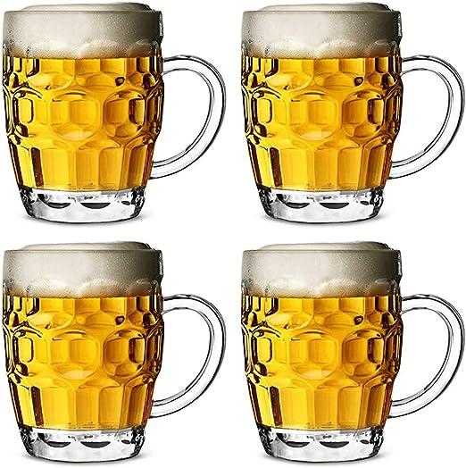 Jarra de cerveza de policarbonato plástico con hoyuelos 568ml - set de 4 unidades / cerveza de barril, pinta de cerveza, jarra de pinta, jarra de plástico: Amazon.es: Hogar