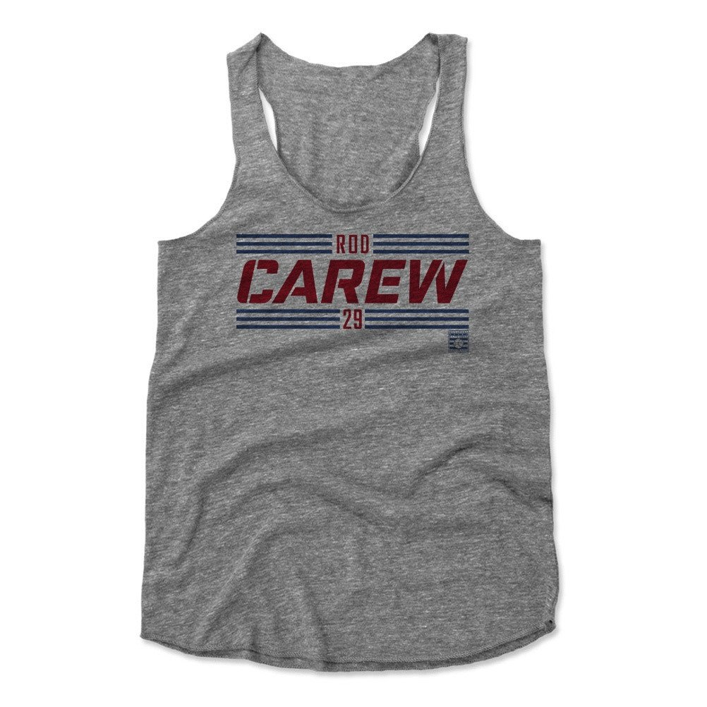 Rod Carew Striped Font R Baseball Hall of Fame Women's Tank Top