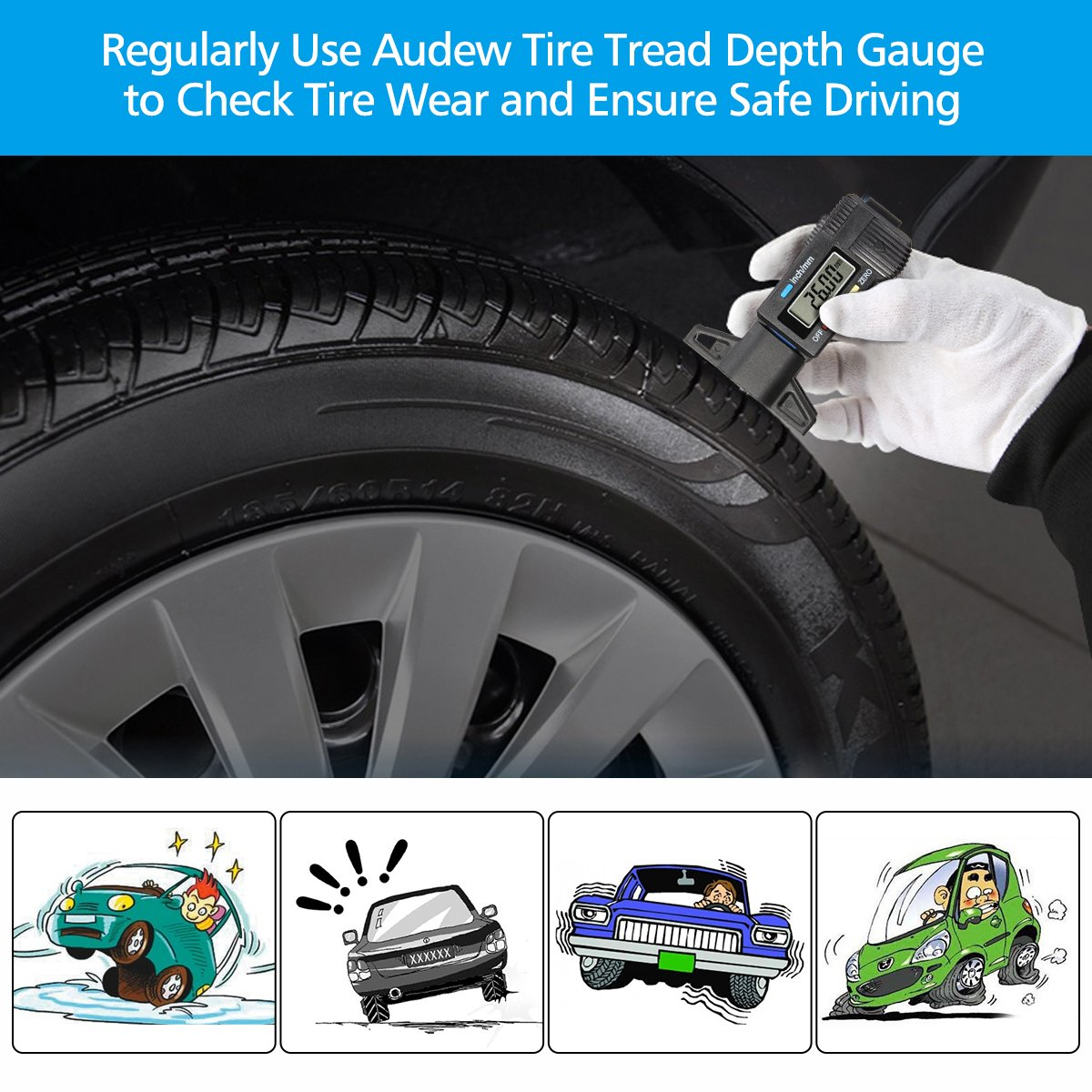 Audew Digital Tire Tread Depth Gauge - Digital Tire Gauge Meter Measurer LCD Display Tread Checker Tire Tester for Cars Trucks Vans SUV, Metric Inch Conversion 0-25.4mm by Audew (Image #4)