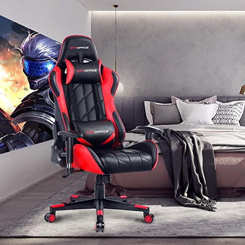 GTPOFFICE Gaming Chair Racing Office Chair High Back PU Leather Ergonomic Computer Chair Adjustable Swivel Computer Task Chair Tilt E-Sports Chair with Soft Headrest and Lumbar Cushion Red