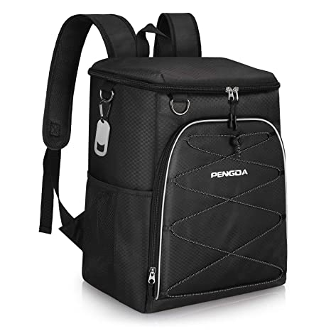 7c4635a3d030 PENGDA Insulated Cooler Backpack Leakproof Soft Cooler Bag Lightweight  Backpack for Lunch Picnic Hiking Camping Beach Park Day Trips (25Can, Black)