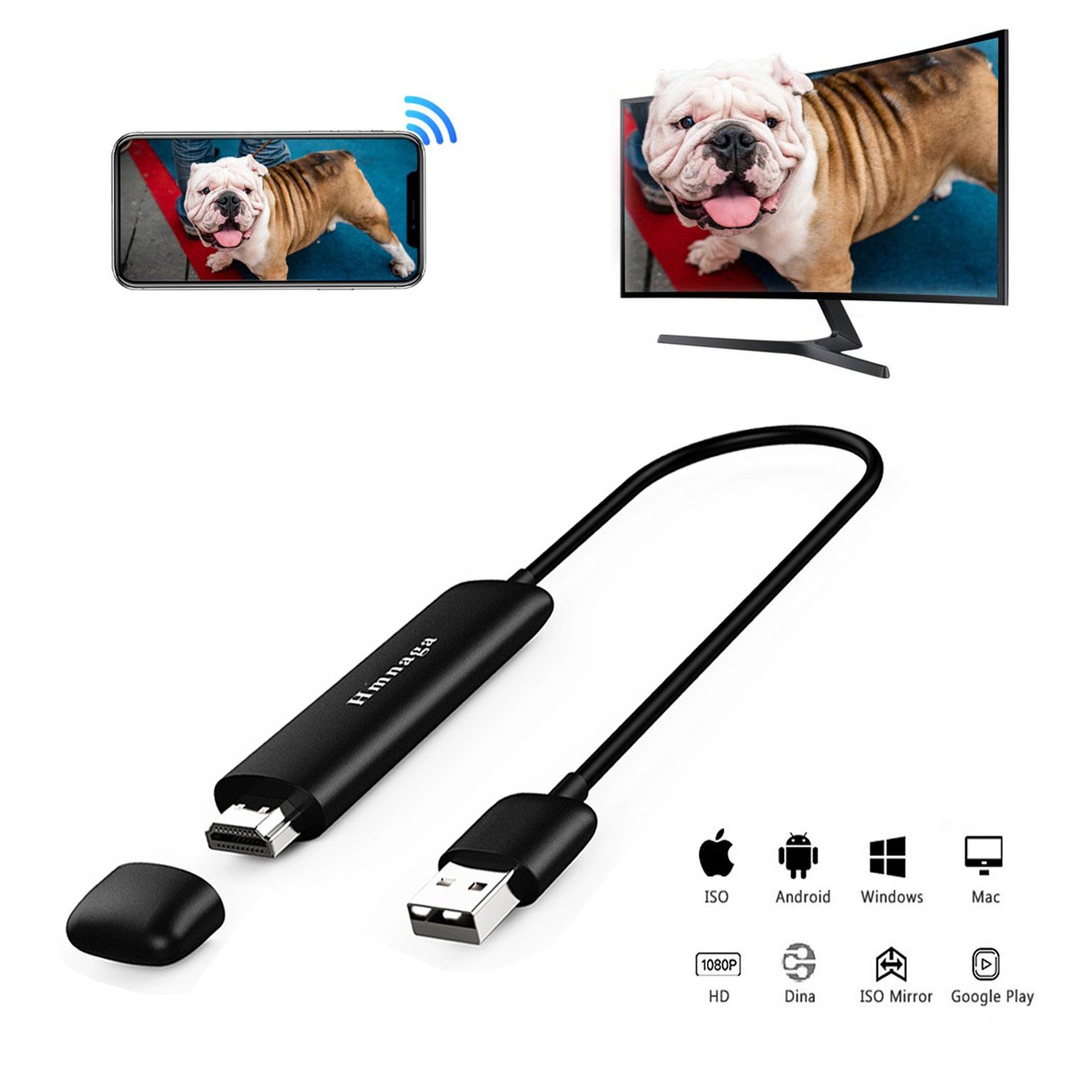 5G WiFi Wireless Display Dongle, Venoro Full HD 1080P HDMI Screen Mirroring Mini Display Adapter Support Miracast/Airplay / DLNA/WIDI for IOS/Android / Mac OS/Win 8.1+ (WD01) by Venoro