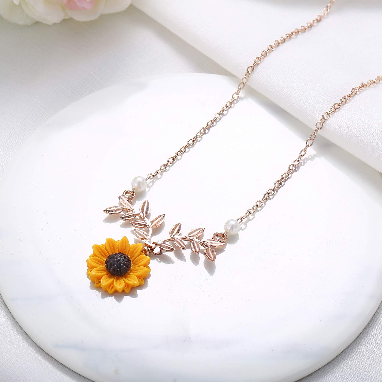 989c8b8453 17mile Sunflower Pearl Leaf Chain Resin Boho Handmade Drop Pendant Choker  Necklace Plated Gold//Rose ...