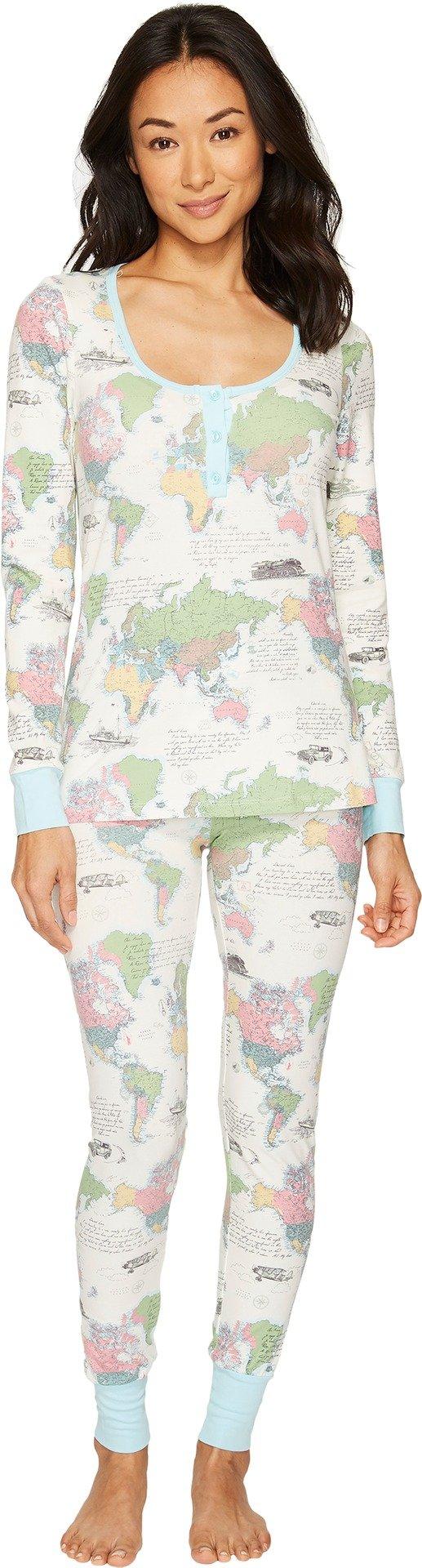 BedHead Women's Long Sleeve Stretch Knit Henley Pajama Set Travel Journal X-Small