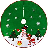 """Christmas Tree Skirt Green with Reindeer Snowflakes and Snowman Design 36"""""""