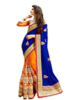 Winza Designer Saree with Blouse Piece (Red zone_Red and Orange_Free Size)