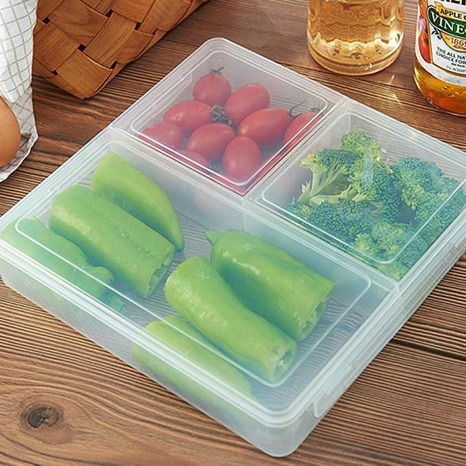 Contenedores de alimentos de plástico UPKOCH con tapas, 3 ...
