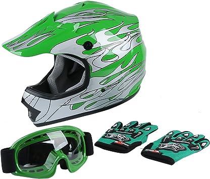 Amazon Com Xfmt Youth Kids Motocross Offroad Street Dirt Bike Helmet Goggles Gloves Atv Mx Helmet Green Flame L Automotive