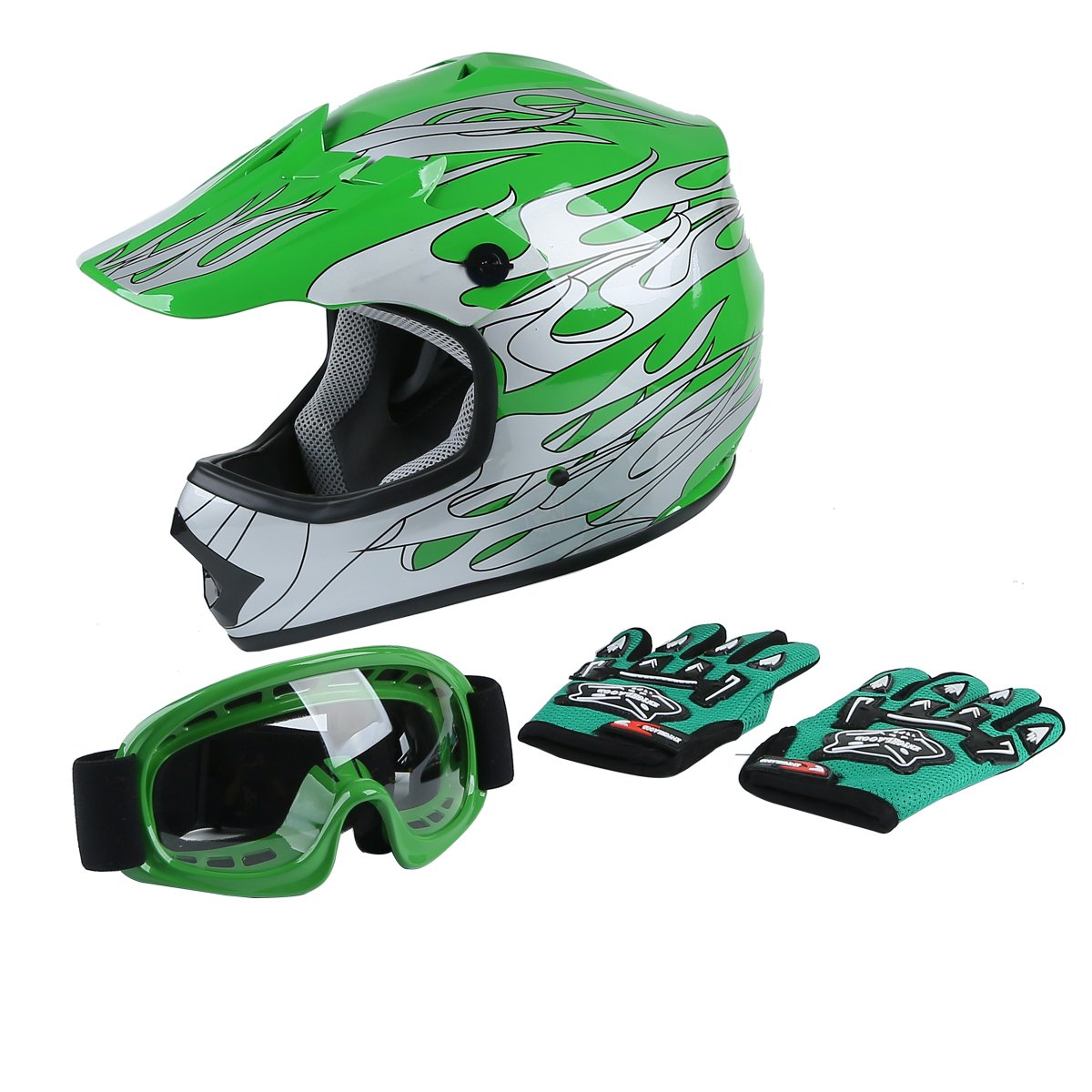 Tengchang Youth Kids Motocross Offroad Street Dirt Bike Helmet Goggles Gloves Atv Mx Helmet Green Flame