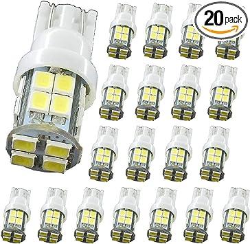 20P PCS T10 10 SMD LED Car Side Wedge Light Lamp Bulb 12V White