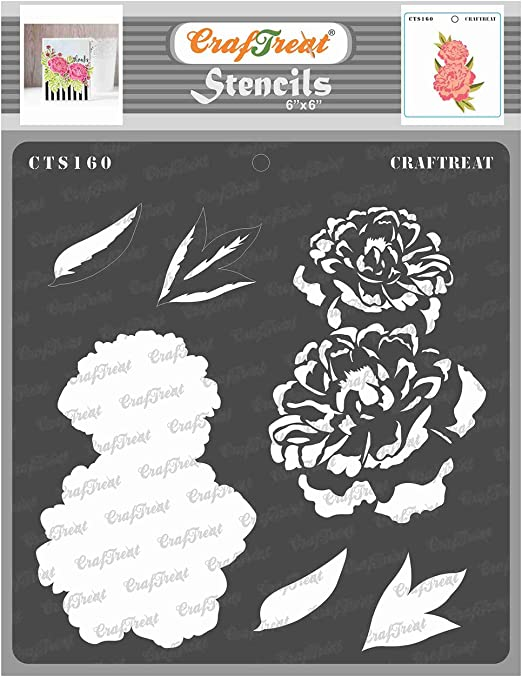 Canvas Floor 6x6 Inches Fabric CrafTreat Layered Flower Stencils for Painting on Wood Flower Center Wall and Tile Paper Reusable DIY Art and Craft Stencils for Painting Flowers