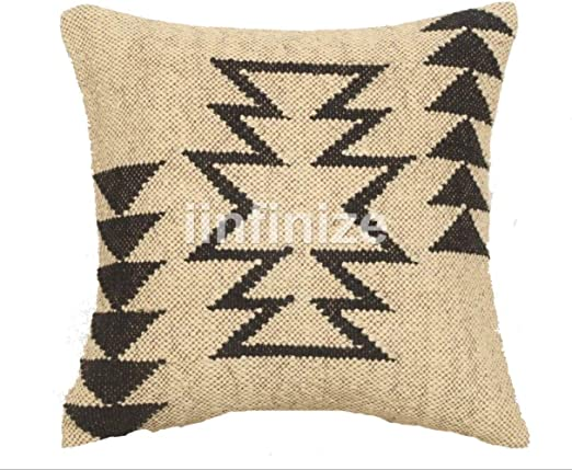 """18/"""" Cushion Cover Rustic Wool Jute Pillow Case Killim Design Hand knotted Shams"""