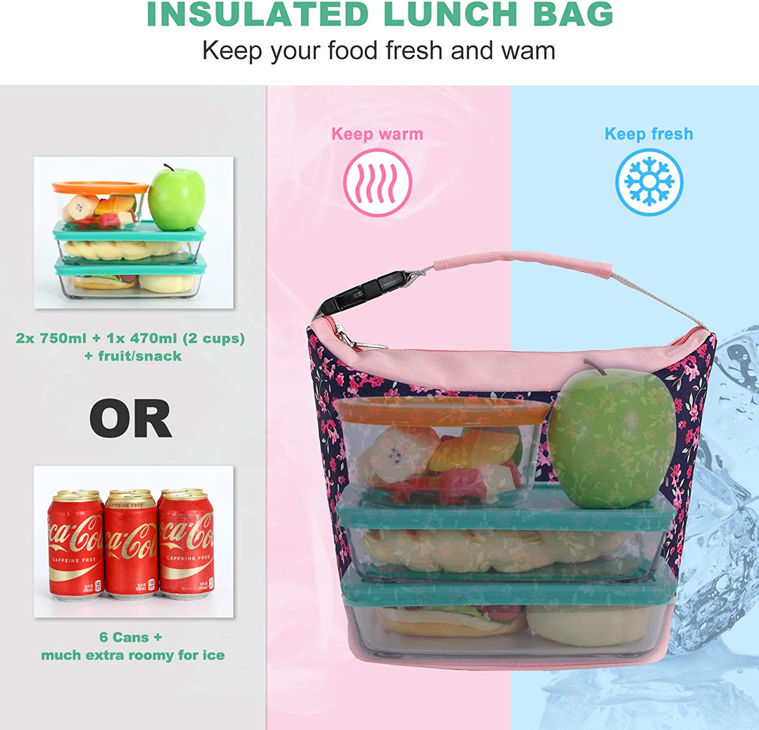 MIER Small Lunch Bag Purse Insulated Leakproof Cooler Lunch Tote for Kids Girls Boys Women Men to School Work Travel Gym Pink /& Crabapple Buckle Handle