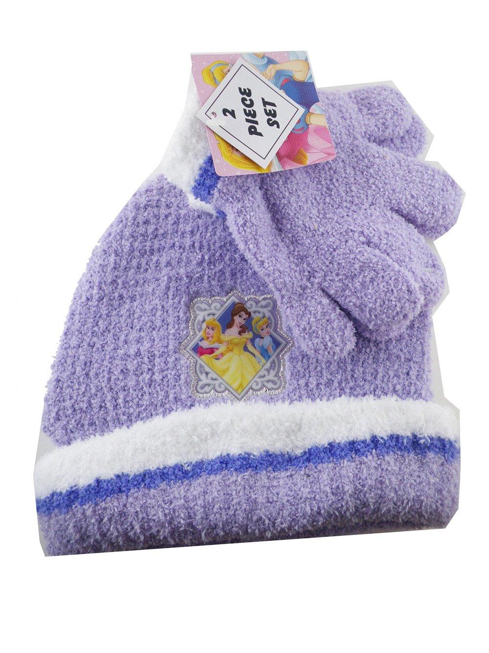 Purple 2 Piece Disney Princess Beanie and Gloves Set Princess Winter Fashion