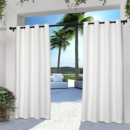 2 Pieces 108 Inch White Color Gazebo Curtains Set Pair Solid Pattern Rugby