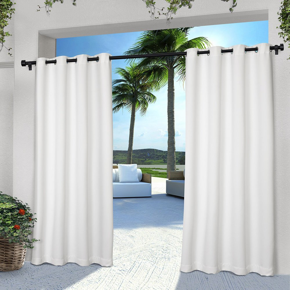 DH 2 Pieces 96 Inch White Color Gazebo Curtains Set Pair, White Solid Color Pattern Rugby Colors Outside, Indoor Pergola Drapes Porch Deck Cabana Patio Screen Entrance Sunroom Lanai Stripes