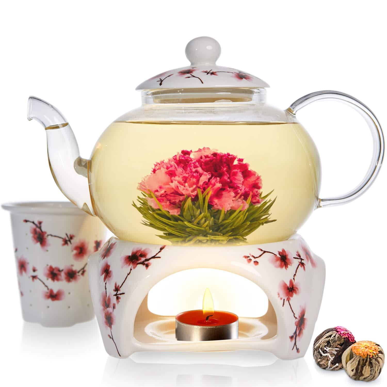 Teabloom Cherry Blossom Teapot & Flowering Tea Gift Set - Stovetop Safe Glass Teapot (27 OZ / 800 ML / 2-3 Cups), Porcelain Lid, Loose Tea Infuser, Tea Warmer + Candle, 2 Gourmet Flowering Teas