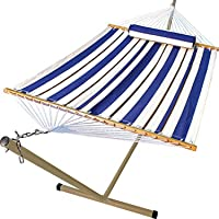 Algoma Net Company 6290W-98SPB Fabric Hammock, Pillow and Stand Combination, 300 lbs. Cap /12' L, Blue, White