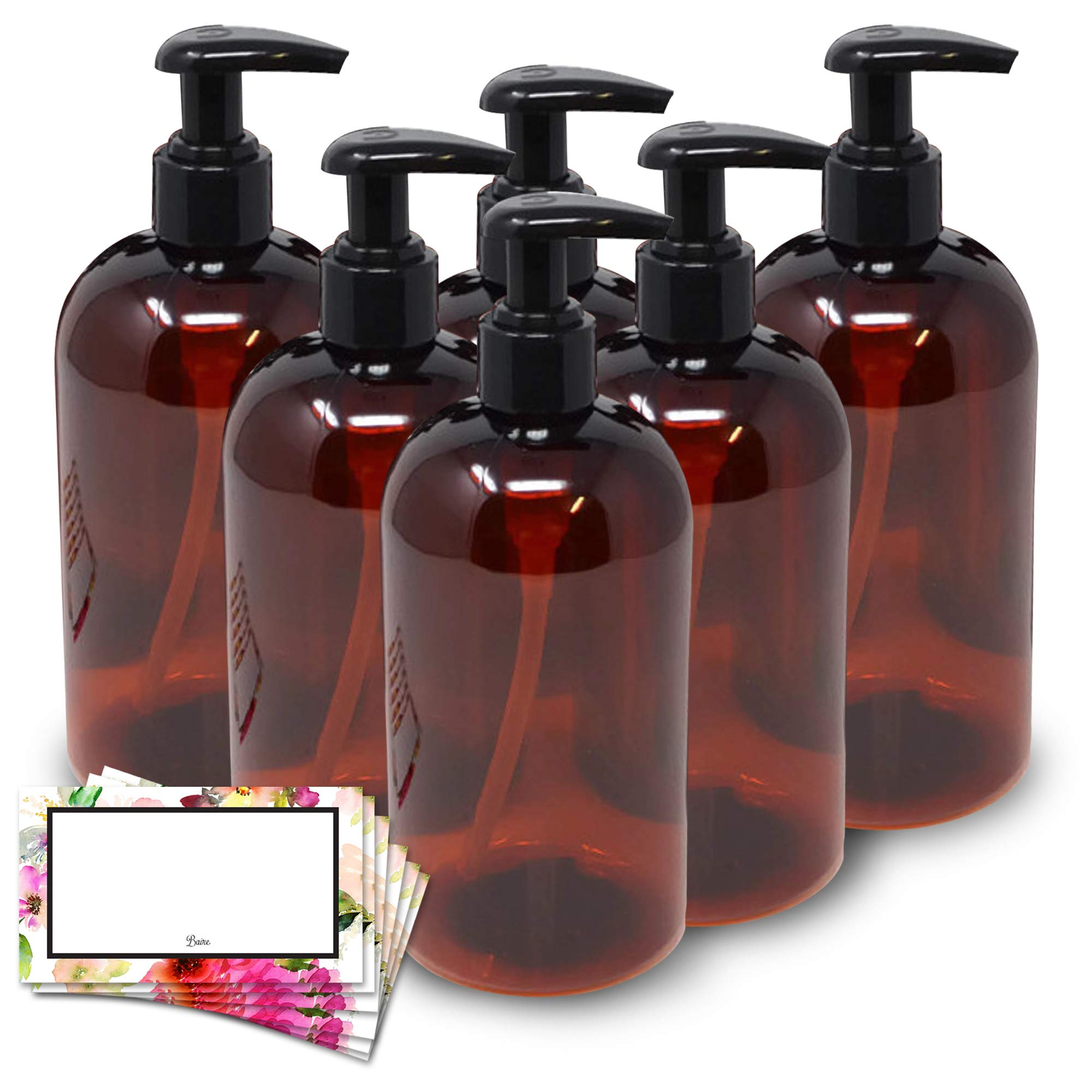 BAIRE BOTTLES -16 OZ BROWN AMBER PLASTIC REFILLABLE BOTTLES with BLACK LOTION PUMPS, ORGANIZE Soap, Shampoo, Lotion with a Clean Look - PET, Lightweight, BPA Free, 6 Pack, BONUS 6 FLORAL LABELS