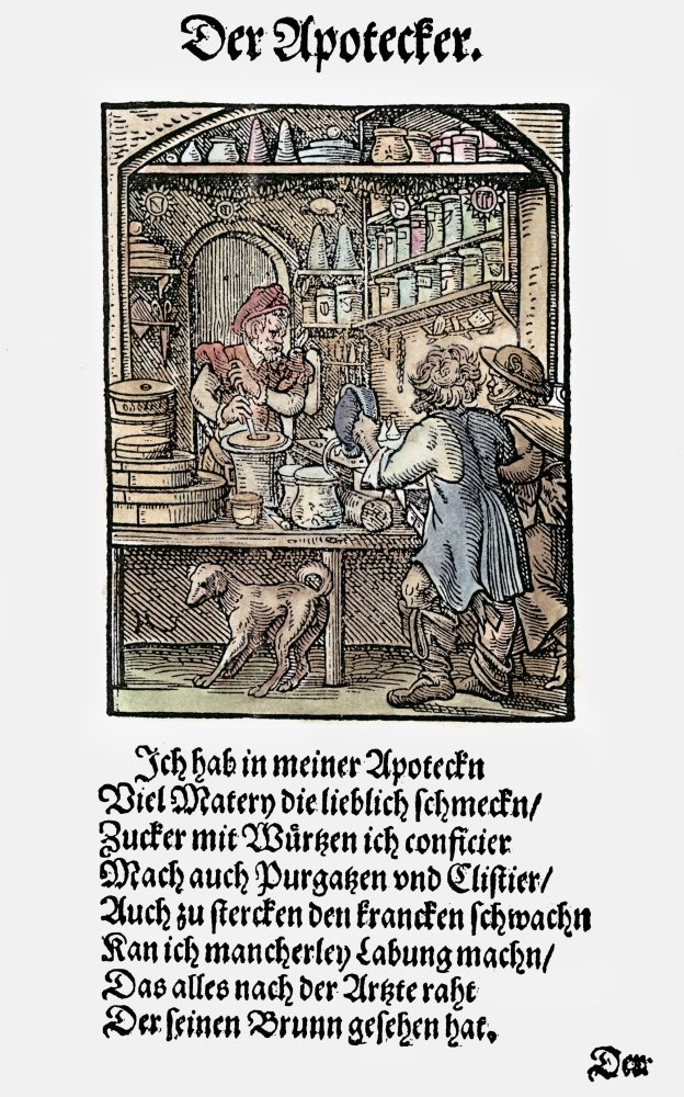 Apothecary 1568 Nwoodcut 1568 By Jost Amman Poster Print by 24 x 36