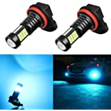 Alla Lighting H8 H11 LED Bulbs Xtreme Super Bright 8000K Ice Blue 12V 3030 36-SMD H16 Fog Lights DRL Replacement for…