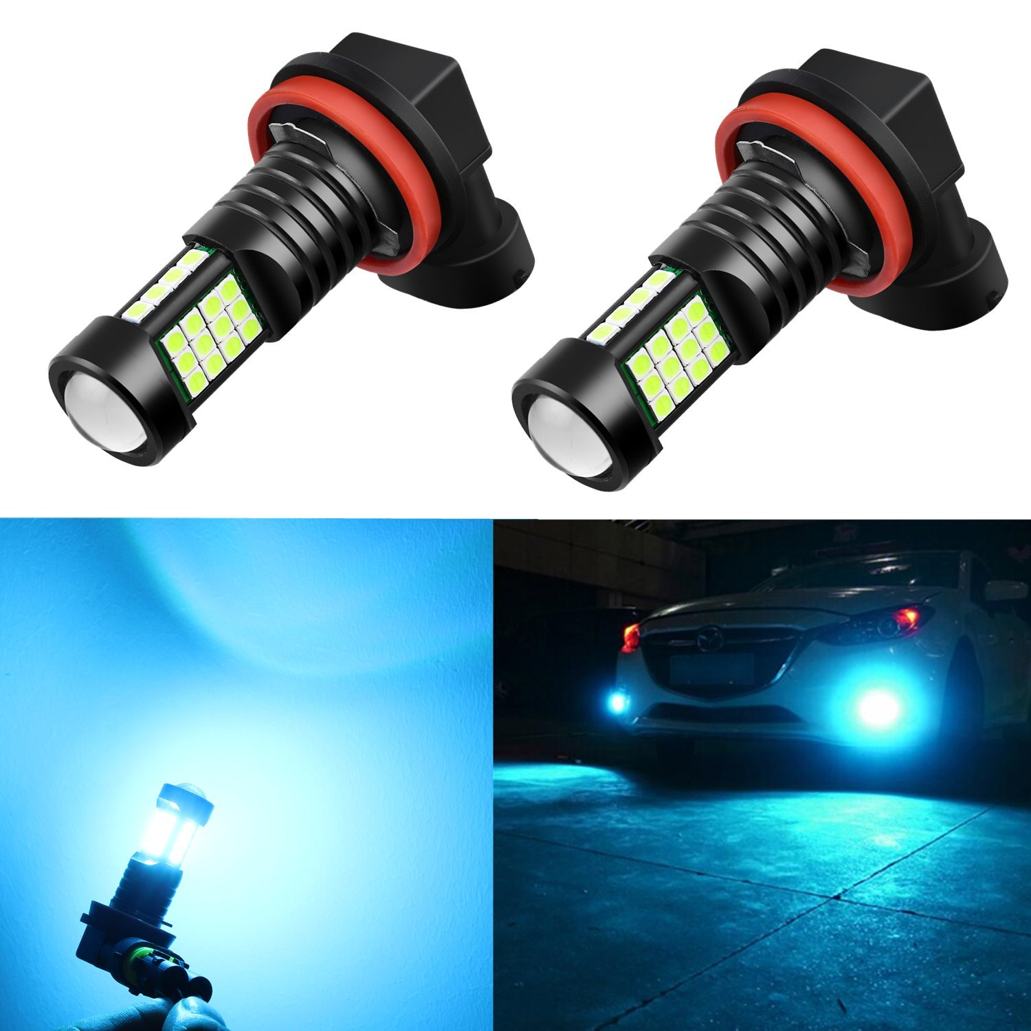 Alla Lighting H8 H11 LED Bulbs Xtreme Super Bright 8000K Ice Blue 12V 3030 36-SMD H16 Fog Lights DRL Replacement for Cars, Trucks