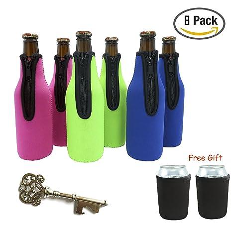 Fundas para botellas de cerveza, 6 paquetes de cerveza enfriadores de botellas Botella aislante con 2 paquetes de soportes para botellas de cerveza ...