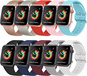[10 Pack] Bands Compatible with Apple Watch Bands 38mm 40mm iWatch Series 6 5 4 3 2 1 & SE for Women Men, Soft Silicone Replacement Wristbands with Adjustable Buckle (10 Pack B, Small)