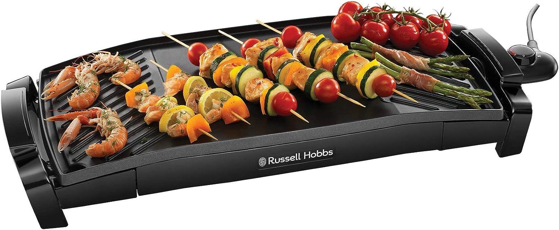 Russell Hobbs Maxicook - Plancha de Cocina Eléctrica (Grill Curvado para Extraer Grasa, 2200 W, Negro) - ref. 22940-56